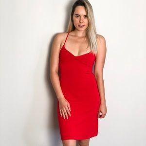 Women Red Midi Stretchy Dress Size XS